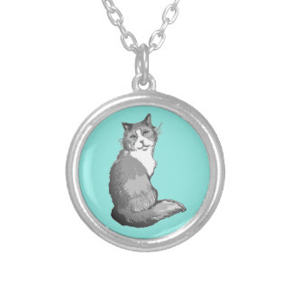 Grey and White Longhair Cat Turquoise Necklace