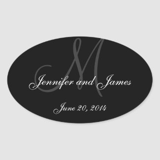 Grey and White Monogram Oval Wedding Wine Labels Oval Sticker