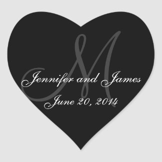 Grey and White Monogram Wedding Heart Labels Heart Sticker