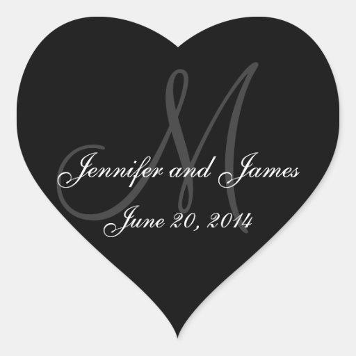 Grey and White Monogram Wedding Heart Labels Sticker