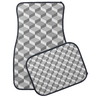 Grey and White Optical Illusion Geometric Squares Floor Mat