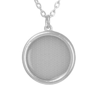Grey and White Pattern Snowflake Flower print Silver Plated Necklace