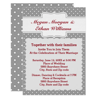 Grey and White Polka Dots Wedding Invitation