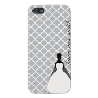 Grey and White Quaterfoil Furture Mrs. iPhone 5/5S Covers