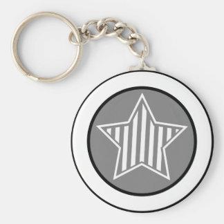 Grey and White Star Keychain