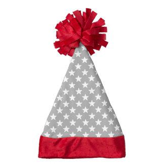 Grey And White Star Pattern Santa Hat