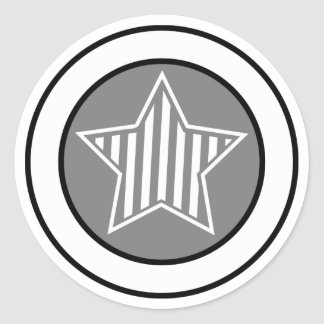 Grey and White Star Sticker