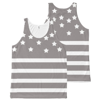 Grey and White Stars & Stripes All-Over Print Singlet