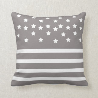Grey and White Stars & Stripes Cushion
