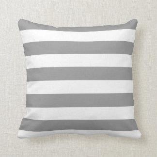Grey and White Stripes American MoJo Pillows Throw Cushion