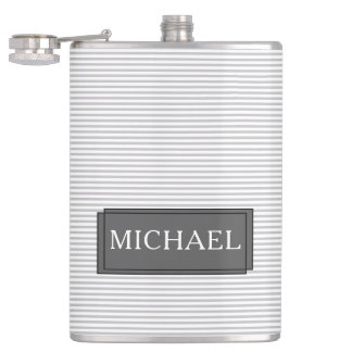 Grey and white stripes - Personalised Flask