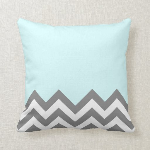 Grey and White zigzag Pillow