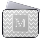 Grey and White Zigzags with Custom Monogram. Laptop Sleeve