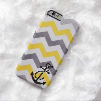 Grey and Yellow Chevron with Anchor Barely There iPhone 6 Case