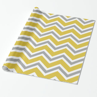 Grey and Yellow Chevron Wrapping Paper