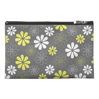 Grey and Yellow Flower Pattern Travel Accessory Bags