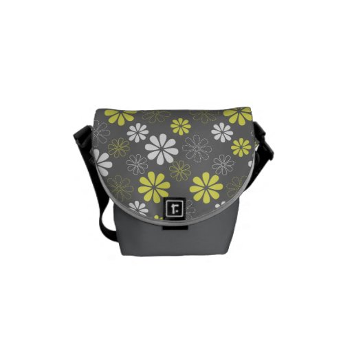Grey and Yellow Flower Pattern Messenger Bags