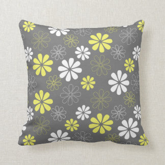 Grey and Yellow Flower Pattern Throw Pillow