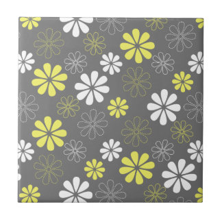 Grey and Yellow Flower Pattern Tiles