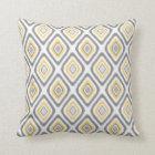 Grey and Yellow Ikat Diamond Pattern Cushion