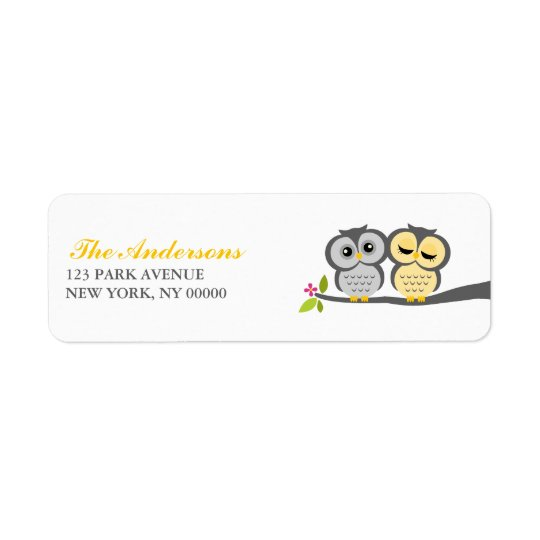 Grey and Yellow Owls Wedding Return Address Label