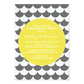 Grey and Yellow Pattern Engagement Invitation