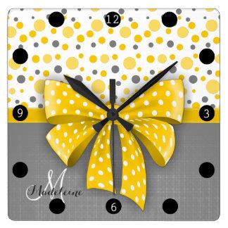 Grey and Yellow Polka Dots, Sunny Yellow Ribbon Square Wall Clock
