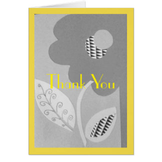 Grey And Yellow Summer Flower Thank You Card