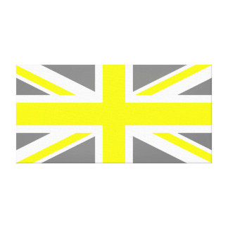 Grey and Yellow Union Jack Canvas Print
