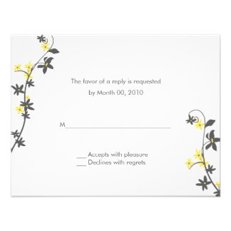 Grey and Yellow Wedding Invitation Reply Cards