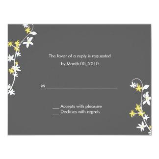 Grey and Yellow Wedding RSVP Cards 11 Cm X 14 Cm Invitation Card