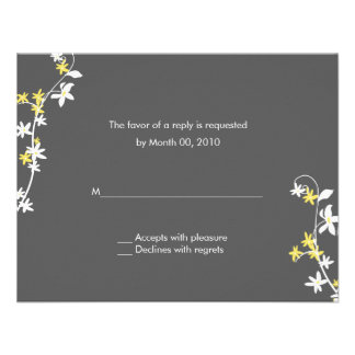 Grey and Yellow Wedding RSVP Cards