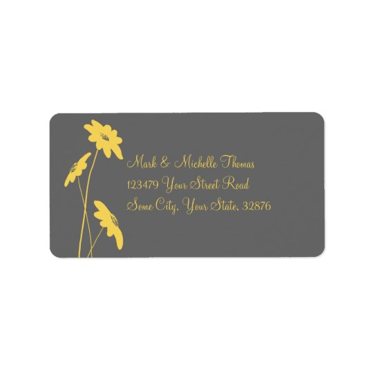 Grey and Yellow Wildflowers Address Label