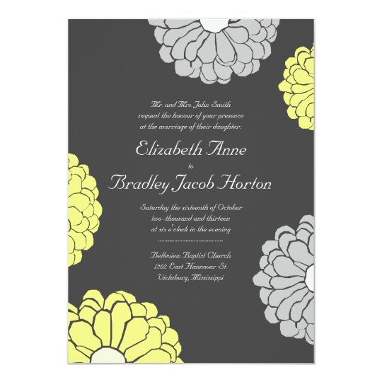 Grey and Yellow Zinnia Flower Wedding Invitation