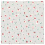Grey Aqua and Coral Confetti Dots Fabric