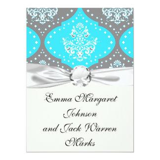 grey aqua blue white henna damask personalized announcements