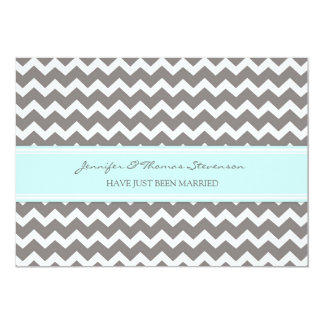 Grey Aqua Chevron Just Married Announcement Cards