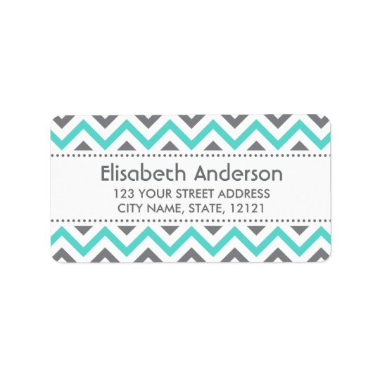 Grey aqua chevron zigzag pattern return address label