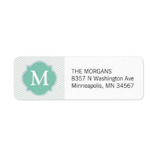 Grey & Aqua Modern Chevron Custom Monogram Return Address Label