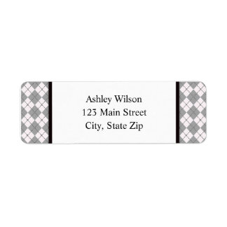 Grey Argyle Return Address Labels