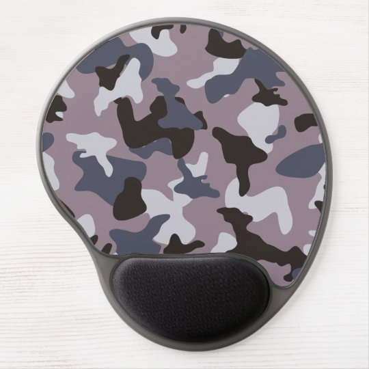 Grey army camo camouflage pattern gel mouse pad
