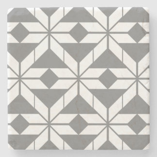 Grey Aztec Geometric Design Marble Stone Coaster