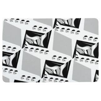 Grey B&W Design Floor Mat