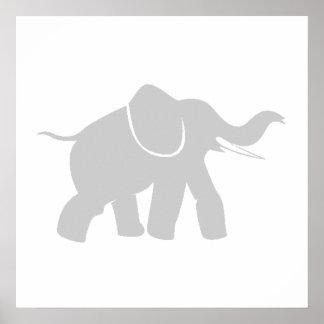 Grey Baby Elephant Print