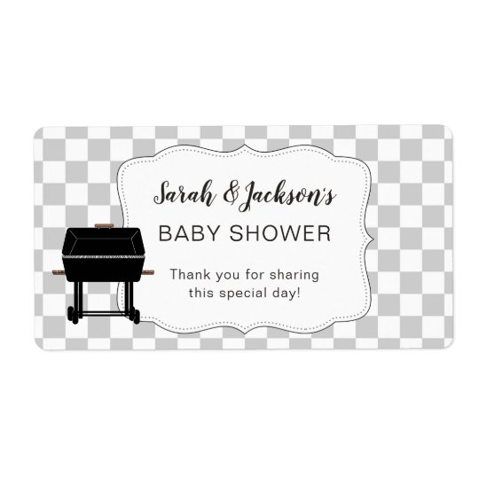 Grey BaBy Q baby shower favour or water bottle bbq