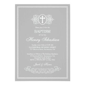 Grey Baptism Invitation