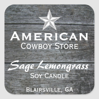 Grey Barnwood White Star Candle Label Square Sticker