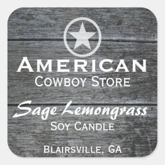 Grey Barnwood White Star Candle Label v2 Square Sticker