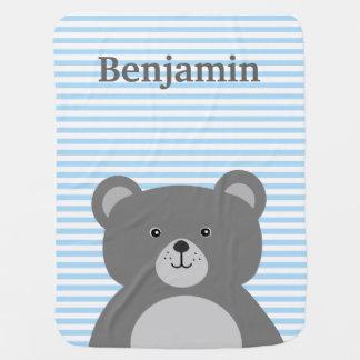 Grey Bear blue striped baby boy's Stroller Blanket