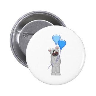 grey bear holding balloons 6 cm round badge
